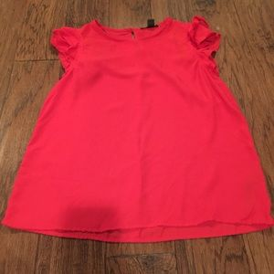 Worn once! Forever 21 Ruffle Sleeve Red Top